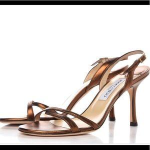 JIMMY CHOO Metallic Calfskin Bronze Sandals 9.5